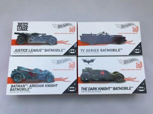 TV Series,Dark Knight,Justice League,Arkham Set of 4 Hot Wheels ID Batmobiles