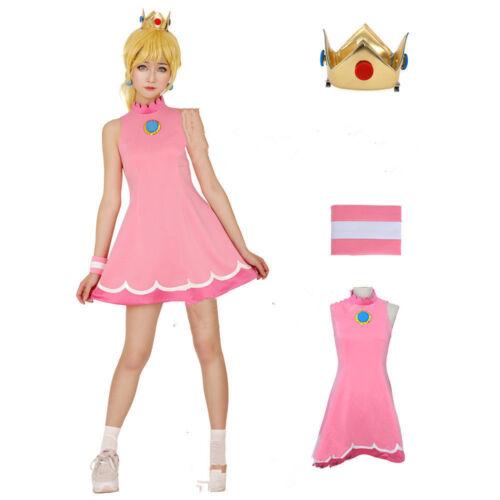 Mario Tennis Princess Peach Cosplay Costume Dress//Free shipping