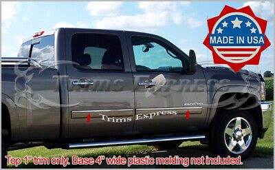 Made in USA Works with 07-2013 GMC Sierra Extended Cab Rocker Panel Chrome Stainless Steel Body Side Moulding Molding Trim Cover Top 1 4PC Overlay