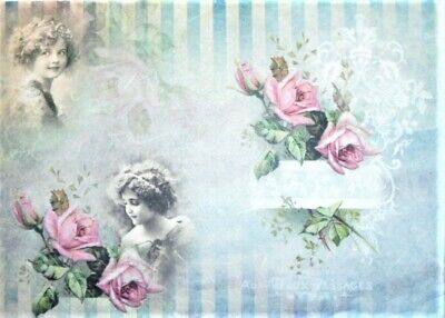 4x Paper Napkins for Decoupage Decopatch Craft Delicate Roses