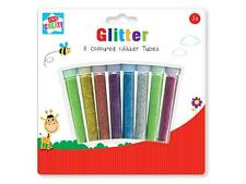 Anker Pack of Glitter Tubes Pots Red Blue Gold Silver Green Purple - Pack of 8