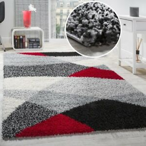 Image Is Loading Grey Rug Geometric Pattern Red Black White New