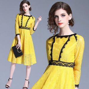 Caricamento dell immagine in corso vestito-corto-abito-scampanato-donna- elegante-giallo-nero- 8c9c1c47327