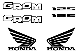 GROM Decal Kit BLACK Sticker Motorcycle 125 graphics decals stickers