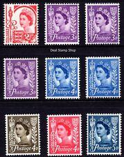 GB QEII Jersey 1958-69 Pre-Decimal Wilding Definitives Set of 9 Unmounted Mint