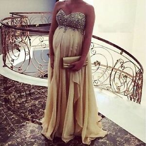 2017-High-Waist-Champagne-Maternity-Evening-Prom-Dress-Formal-Prom-Gown-Pregnant