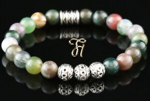 Indien-Achat-Armband-Bracelet-Perlenarmband-Silber-Beads-Buddha-8mm