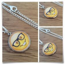 Emoji Geek Nerd Glasses face Charm pendant necklace txt geek