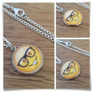 Emoji Geek Nerd Glasses face Charm pendant necklace txt geek