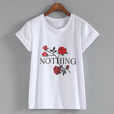 New Fashion Women's Rose Flower Letter Nothing Printed T-shirt Short Sleeve Tops