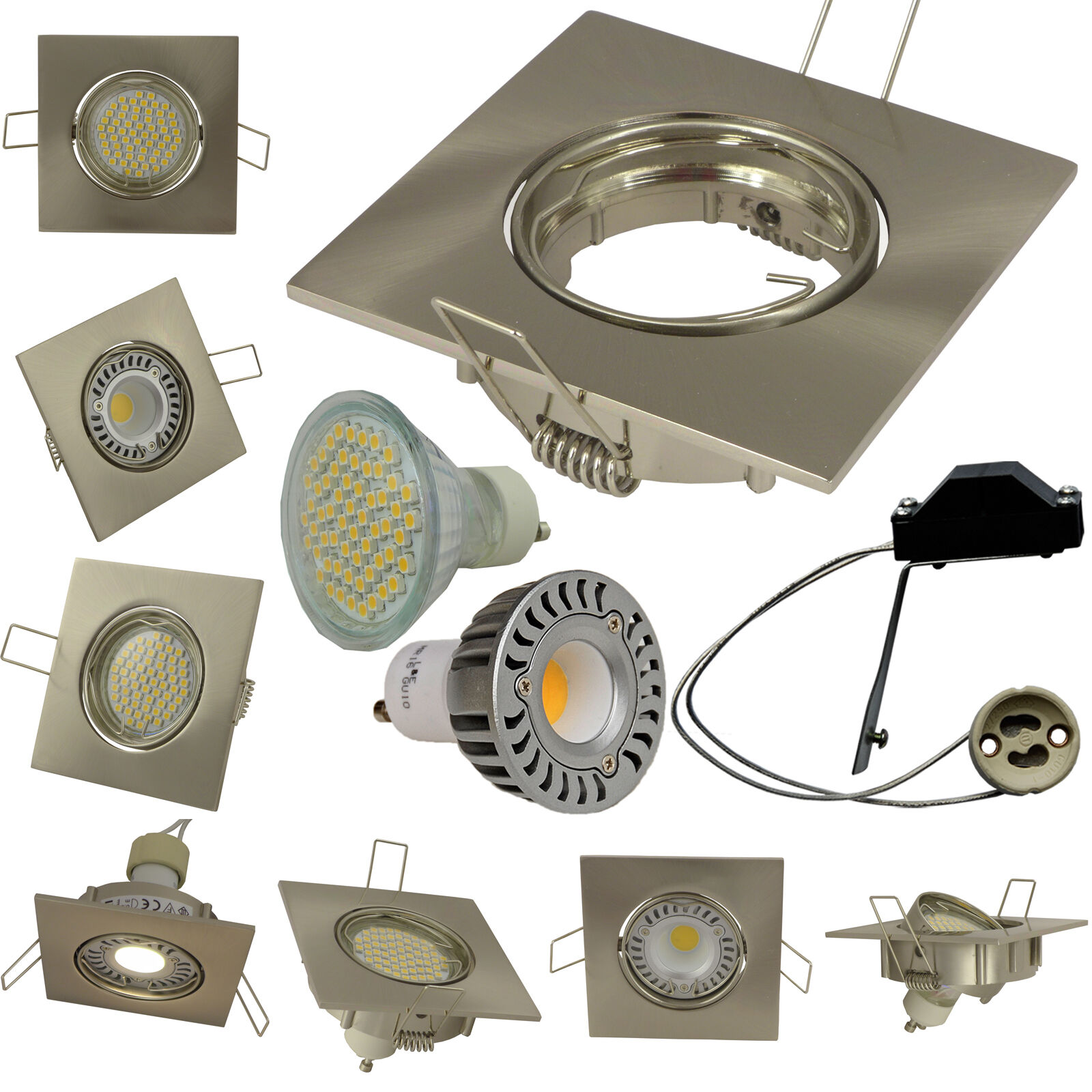 LED Einbaustrahler GU10 Quadrat Einbauleuchte schwenkba Energieeffizienzklasse A