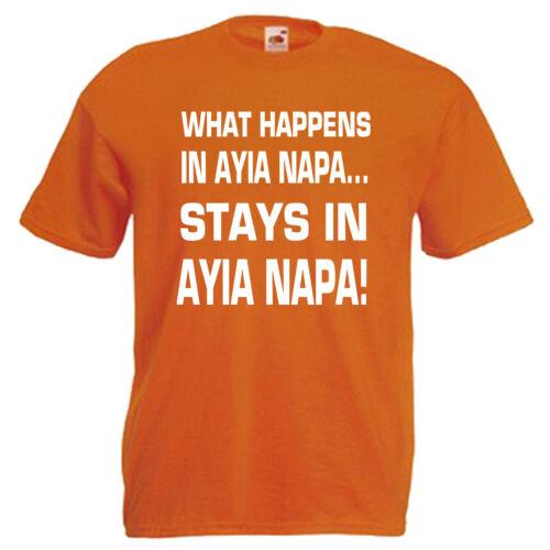 What Happens Ayia Napa Mens T Shirt 12 Colours Size S 3XL