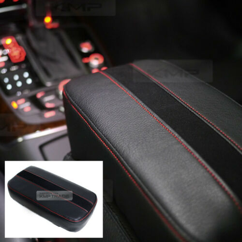 Sports Center Console Line Armrest Cushion Suede Black Accessory For PEUGEOT Car