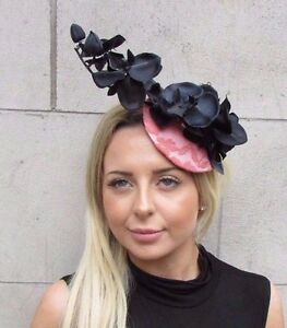 Black Coral Peach Pink Orchid Flower Fascinator Hat Wedding Hair Clip Races 3132