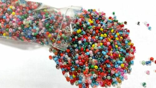 Rocailles Perlen 3mm 100g Glas Rund MIX Mehrfarbig Opak Silbereinzug Z14#100g