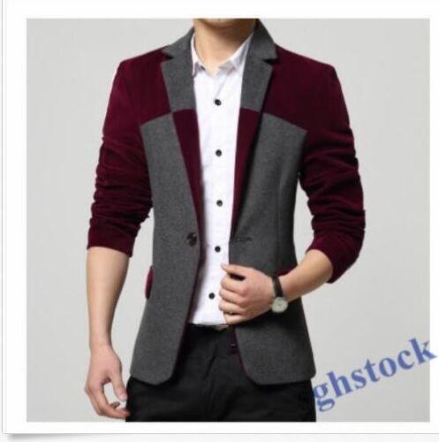 Men/'s Suit Jackets Patchwork apel Blazers Coats Velvet One Button Slim Fit  Tops