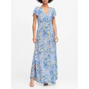Banana Republic Womens Ecovera Blue Floral Short Sleeve V Neck Maxi Dress Size 6