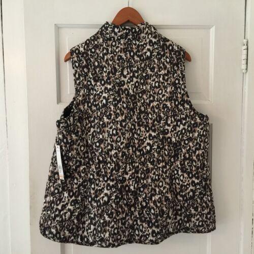 Relativity Women/'s Vest Leopard Print Plus Size 2X Full Zip Quilted Pockets
