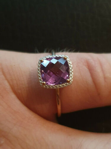 Rot//Rosegold Ring Amethyst violett 375 Echtschmuck 9 kt Neu verschiedene Grössen