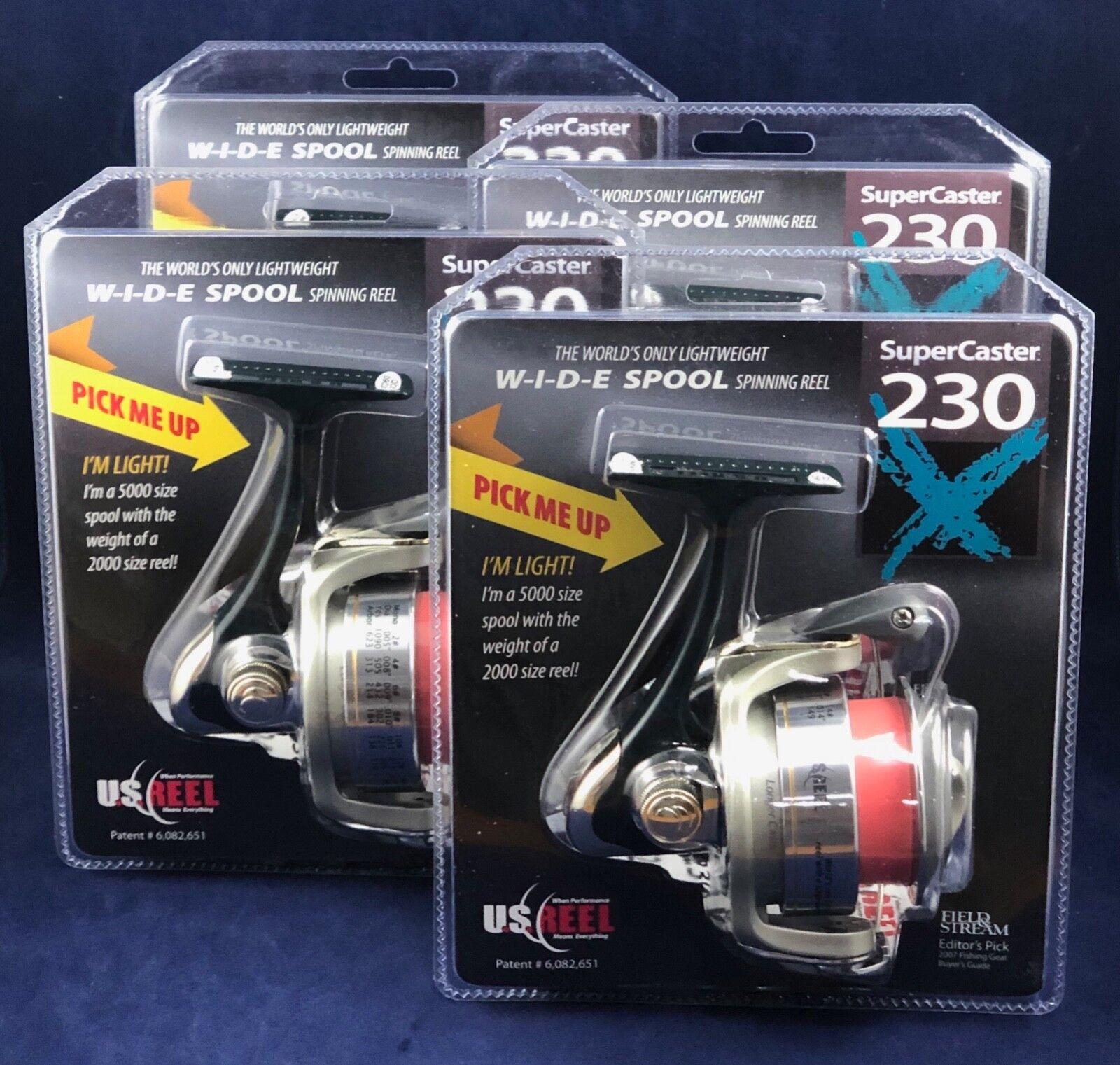 nuevo  U.S. Reel súpercaster 230X-Spinning Cocheretes-Field & Stream Pick-Lote de 4