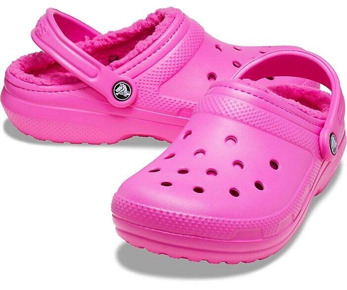 Crocs Women's Classic Lined Comfort Clog   Electric Pink   203591-6TB   Size 11