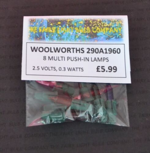 0226 WOOLWORTHS 290A1960 2.5V MULTI COLOURED PUSH-IN SPARE BULBS 8 PACK