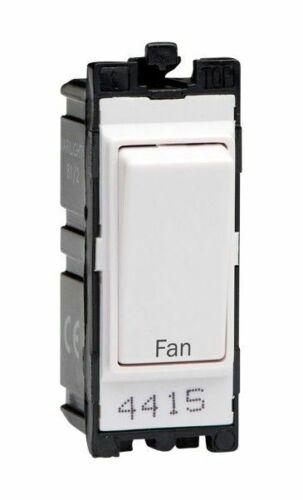 "Varilight G201DW.FN Powergrid Module Blanc 20 A 1-Way Double Pôle Interrupteur /""FAN/"""
