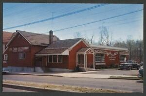 Bridgeport-CT-c-1950s-Postcard-LOG-CABIN-RESTAURANT-4485-Main-Street-Rte-25