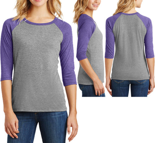 Ladies 3//4 Sleeve Tri Blend T-Shirt Raglan Tee Womens XS-XL 2XL 3XL 4XL NEW