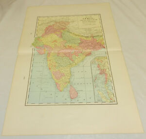 1904 Antique Cram COLOR Map/INDIA, NEPAL, BHUTAN, MALAY PENINSULA/Large 14x22""