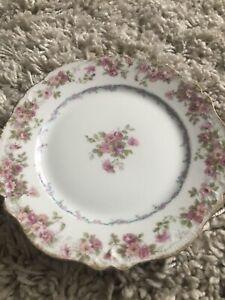 Three-6-Limoges-CH-Field-Haviland-Pink-Rose-Bread-Plates-Like-New-Gold-Trim