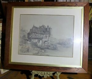 Antique-MEDIEVAL-GERMAN-HOUSE-ON-RIVER-RHINE-Pencil-Drawing-Veduta-1887-Art