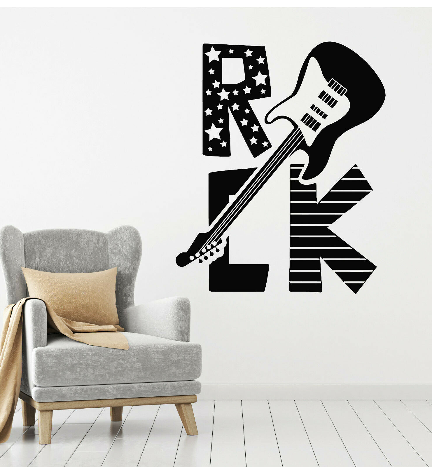 Vinyl Wall Decal Electric Guitar Music Rock Words Forever Free Stickers (g1206)