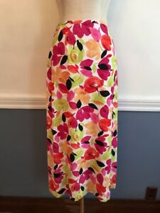 4-Cutter-amp-Buck-Women-039-s-Long-Floral-Skirt-Lined-Orange-Pink-Yellow-Green
