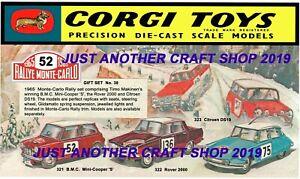 Corgi-Toys-GS-38-Monte-Carlo-Poster-Grande-Conjunto-de-Regalo-Tienda-Letrero-Anuncio-FOLLETO-1965
