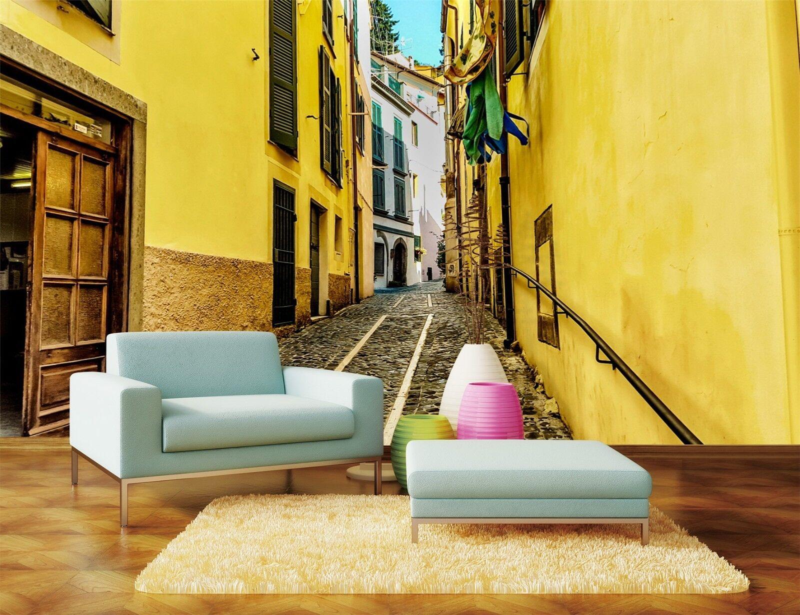 3D Gelbes Haus Straße 8007 Tapete Wandgemälde Tapeten Bild Familie DE Lemon  | Niedriger Preis  | Zu einem niedrigeren Preis  | Verkauf
