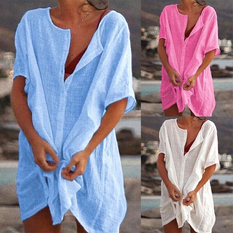 Women Cotton Linen Blouse Summer Holiday Beach Top T Shirt Mini Dress Plus ODCA