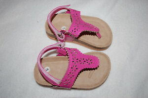 bbd543c059b9 Baby Toddler Girls PINK T-STRAP THONG SANDALS Flower Cut Outs ANKLE ...