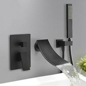 Waterfall Oil Rubbed Bronze Bathtub Faucet Wall Mount W/Hand Sprayer Mixer  Tap1