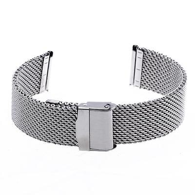 22mm Unisex Mesh Steel Watch Band Strap Bracelet Safety Buckle Silver Hot