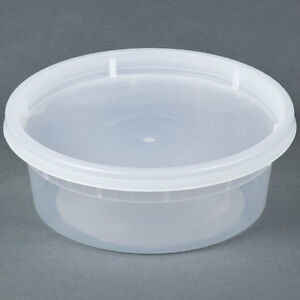 8 Oz Plastic Containers With Lids 250 Sets Wholesale Deal Ebay