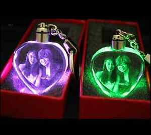 Custom Laser Etched Engraving Crystal Photo Key Chain Ring