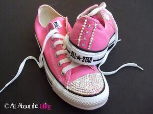 CONVERSE ALL STAR Pink using iridescent SWAROVSKI CRYSTALS & STARS WOMEN'S 5-10