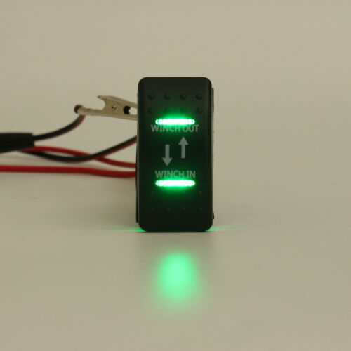 ON ON -OFF- 7 Pin Green LED Light Winch In Winch Out Rocker Switch Momentary !