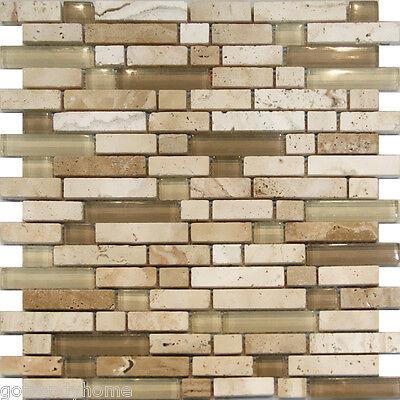 10SF-Beige Cream Glass & Travertine Linear Mosaic Tile Kitchen Backsplash Floor
