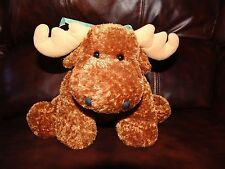 """Flip Flops Mary Meyer Brown Moose w/ Green Checked Bow Plush Beanie Doll 12"""""""