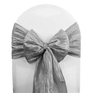 100 Charcoal Accordion Taffeta Chair Sashes Wedding Decor Ebay