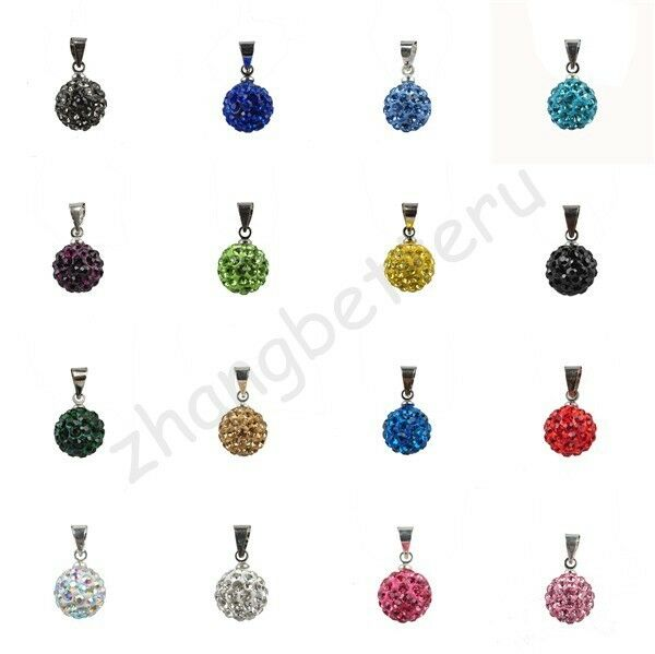 Austria Crystal Pave Disco Clay Ball Beads For Necklace Charms Pendant 10 mm