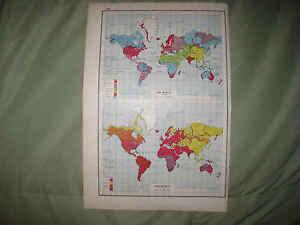 Antique 1920 World Religion Race Racial Census Map Christian Muslim