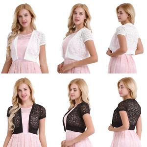Women-Lace-Shrug-Bolero-Jacket-Short-Sleeve-Cardigan-Blouse-Top-Evening-Dress